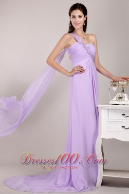 Watteau Train Beaded One Shoulder Prom / Party Dress
