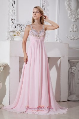 Light Pink Straps 2013 Prom Dress Beading
