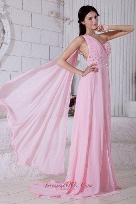 One Shoulder Beading Prom Evening Dress Watteau