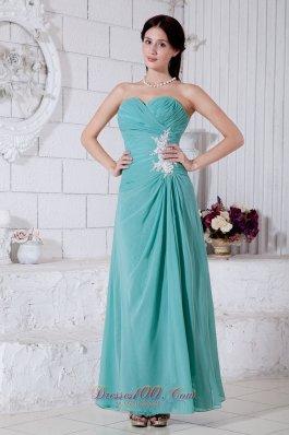 Appliques Prom bridesmaid dress Turquoise