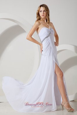 High-slit Prom Dress Open Back One Shoulder