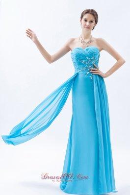 Aqua Prom Maxi Dress Column Beading