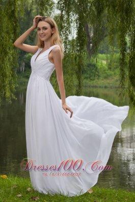 White Empire Dress for Prom Girl V-neck