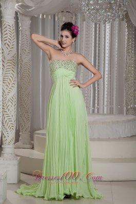 Yellow Green Prom Dress Beading Customize