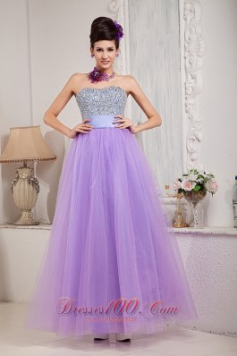 Exquisite Crystal Design Lavender Prom Dress