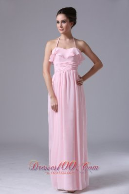 Cute Halter Pink 2013 Prom Dress ruffles