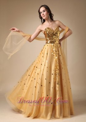 Stunning Gold Evening Gown Sweetheart Sequins Over