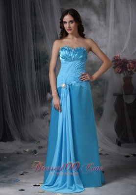 Exquisite Beaded Aqua Column Evening Dress