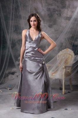 Grey Mother of the Bride Dress V-neck Cross Back