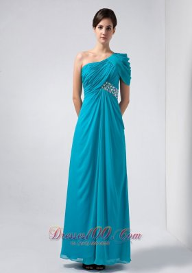 Teal Homecoming Dress One Shoulder Cap Sleeve