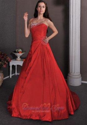 One Shoulder Red Dress for Bridal Court Appliques