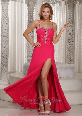 High Slit Straps Coral Red Beaded Prom Evening Dress