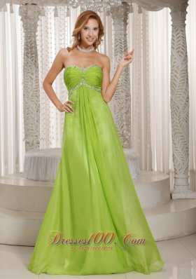 Elegant Prom Holiday Dress Green Beading and Ruching