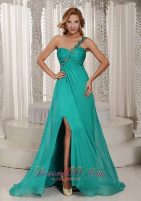 Turquoise High Slit Prom Celebrity Dress Beading