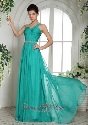 Discount One Shoulder Prom Dress Ruch and Beading