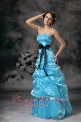 Beautiful Prom Dress Aqua Blue Appliques Bowknot