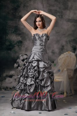 Gorgeous Grey Evening Gown Flowers Pick-ups