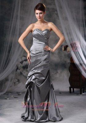 Discount Gray Beading Prom Evening Dress Column