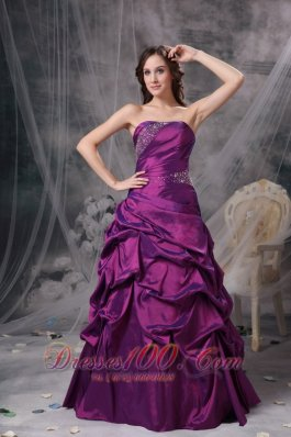 Purple V-neck Bridesmaid Dress Beads pick-ups