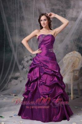 Purple V-neck Bridesmaid Dress Beads pick-ups