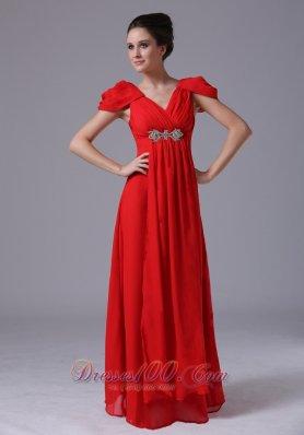 Fashionable Cap Sleeves Prom Dress V-neck