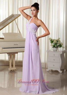 Lilac Prom Dress Appliques One Shoulder