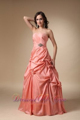 Rust Red Pick-ups and Beading Prom Celebrity Gown