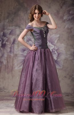 Dark Purple Prom Evening Dress Off The Shoulder