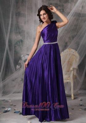 Purple One Shoulder Prom Dress Beads Flower