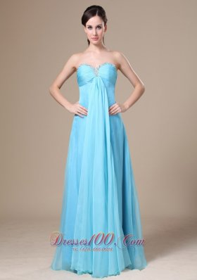 Stylish Prom Dress Beading Aqua Blue