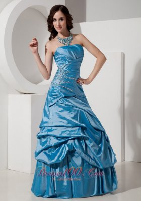 Sky Blue A-Line Prom Dress Beading Pick-ups