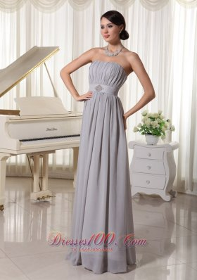 Modest Grey Empire Prom Holiday Dress Ruch Beading