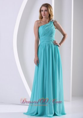 One Shoulder Aqua Blue Bridesmaid Dress Ruching