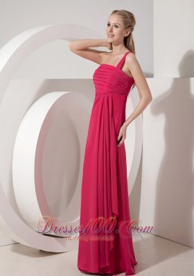 Beautiful Coral Red Prom Dress for Junior One Shoulder