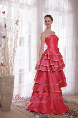 Coral Red Strapless Ruffles Prom Dama Dresses Quinces