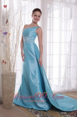 Baby Blue Sheath Prom Dress One Shoulder Watteau