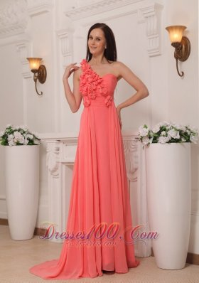 Watermelon Prom Evening Dress One Shoulder Flowers