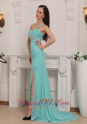 Prom Pageant Gown One Shoulder High-slit Beading