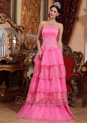 Pretty Pink Empire Organza Prom Dress Lace Appliques