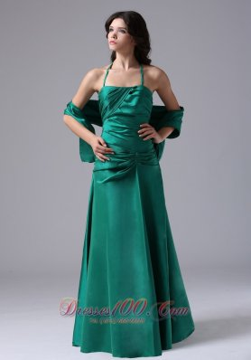 Discount Halter Prom Evening Dress Dark Green Ruched