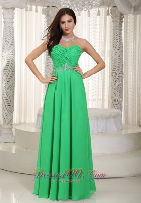 Prom Dress Customize Spring Green Ruch and Beading