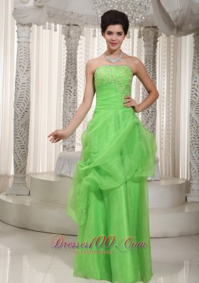 Cute Green Empire Prom Dress Organza Appliques
