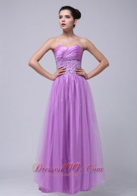 Tulle Prom Dress in Lavender Beaded and Ruching