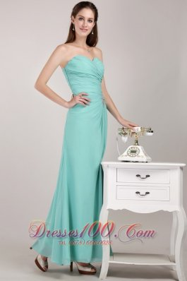 Apple Green Chiffon Beading Prom Dress for Junior