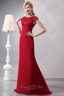 Modest Wine Red Prom Dress Round Neck Brush Beading