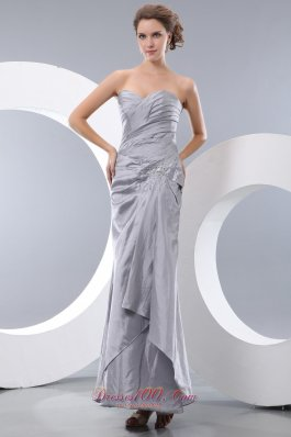 Unique Gray Beading Prom Dress Ankle-length Pleats