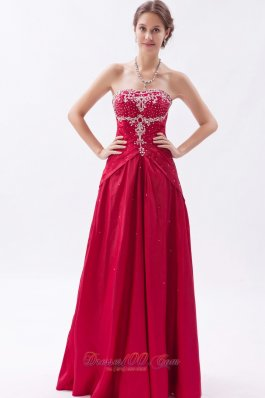 Embroidery Wine Red Sheath Prom Dress Beading