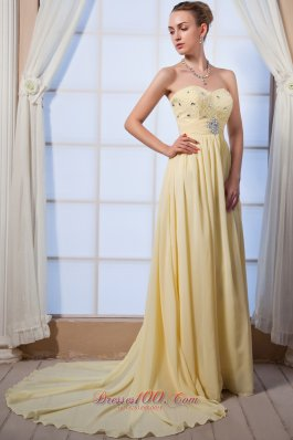 Light Yellow Beading Prom Dress for Homecoming