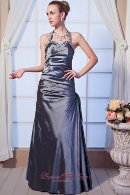 Gray Column Halter Dress for Homecoming Beading