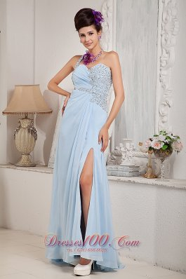 Light Blue One Shoulder Evening Dress Beading Slit